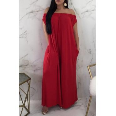 Lovely Euramerican Dew Shoulder Red One-piece Jumpsuit