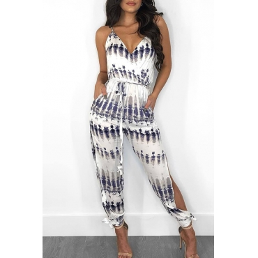 Lovely Casual Printed Hollow-out White Loos Pants