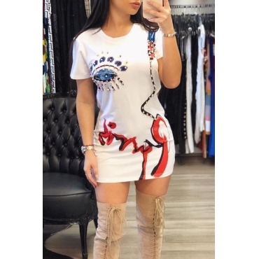 Lovely Casual Round Neck Printed White Mini Dress