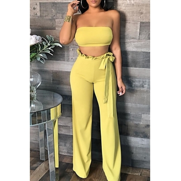 Lovely Casual Dew Shoulder Falbala Design Yellow  Two-piece Pants Set