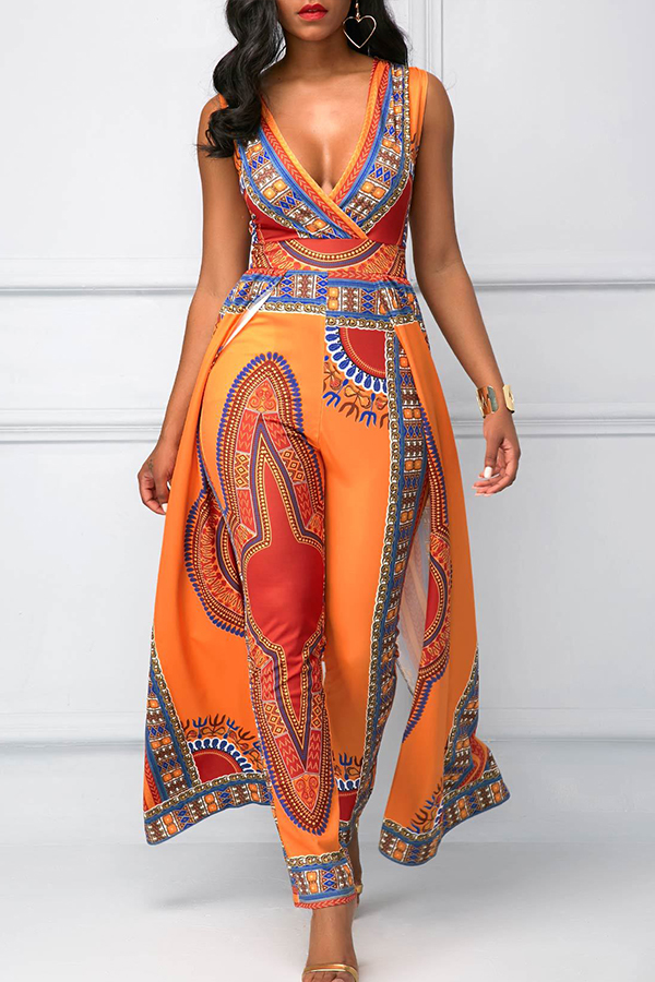 Lovely Ethnic Style Printed Orange One-piece Jumpsuit