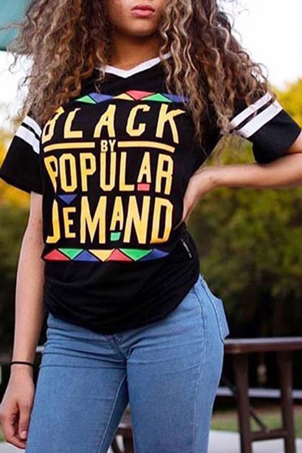 Lovely Fashion Letters Printed  Black T-shirt