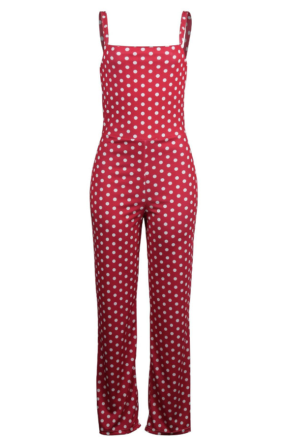 Lovely Fashion Dot Printed Red One-piece Jumpsuit