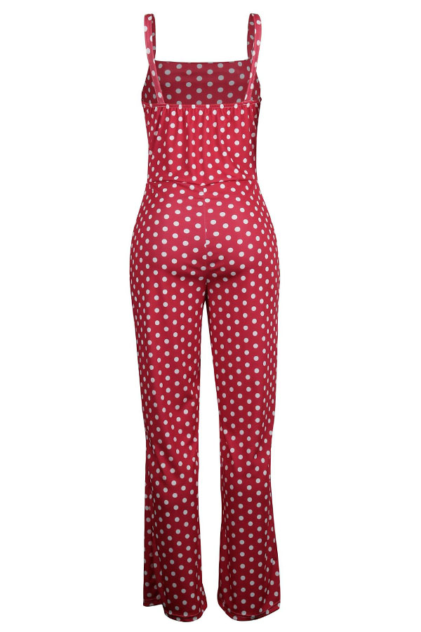 Lovely Fashion Dots Printed Red One-piece Jumpsuits
