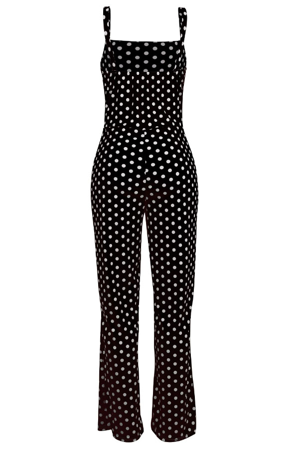 LovelyFashion Dots printed Black One-piece Jumpsuit