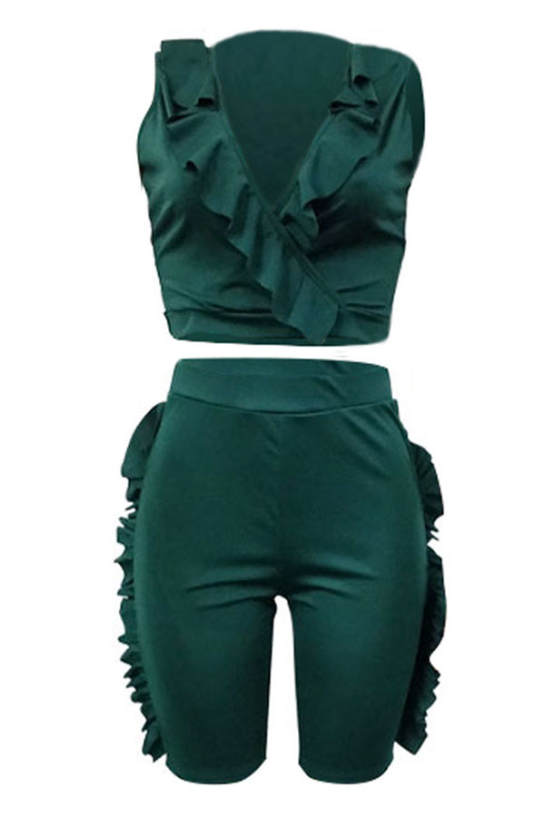 LovelyCasual V Neck Ruffle Design Army Green Twilled Satin Two-piece Shorts Set
