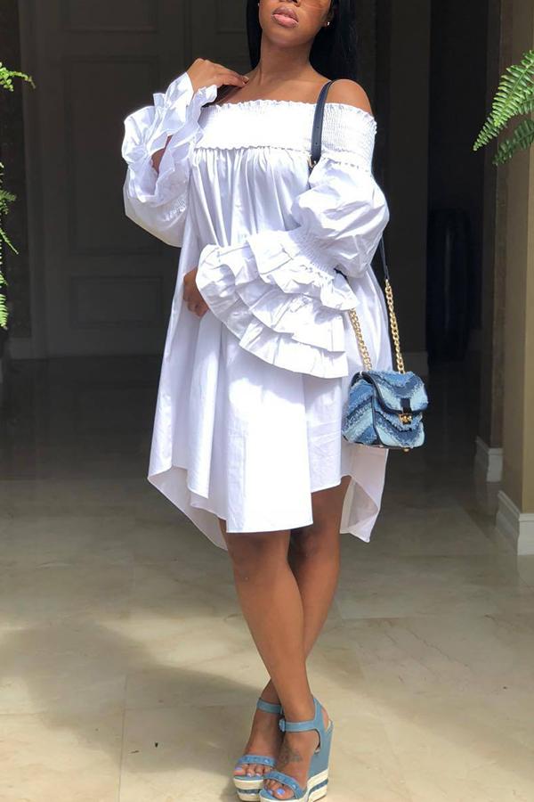 Lovely Trendy Dew Shoulder White Ruffles Knee Length  Dresses
