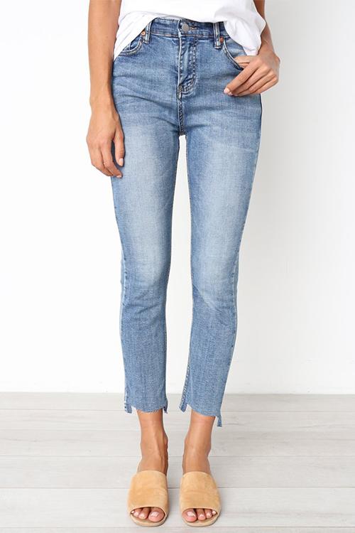 Lovely Euramerican Irregular Hems Baby Blue  Jeans