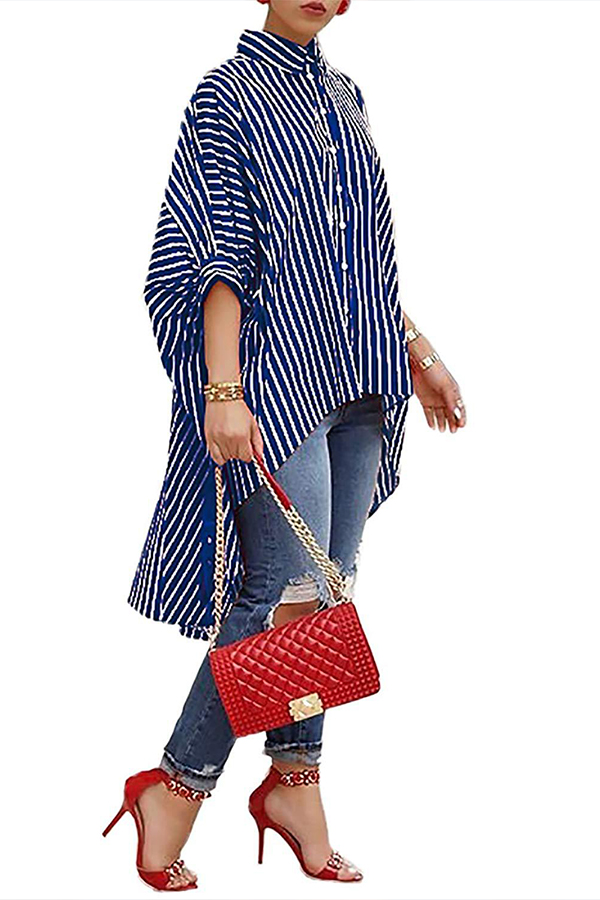 lovelywholesale / Cheap Blouses&Shirts Lovely Casual Asymmetrical Striped Blue Blouse