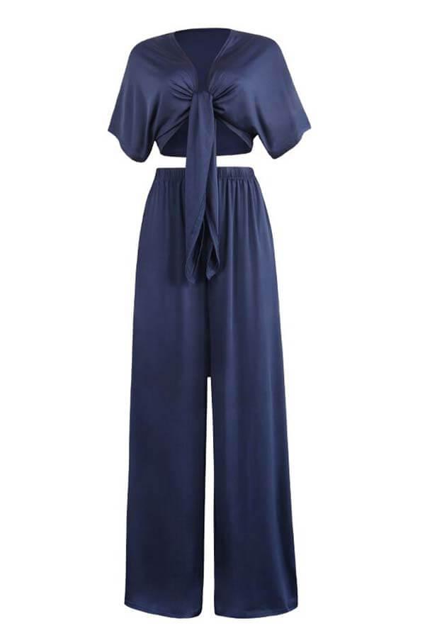 LovelyCasual  Deep V Neck  Loose Dark Blue  Two-piece Pants Set