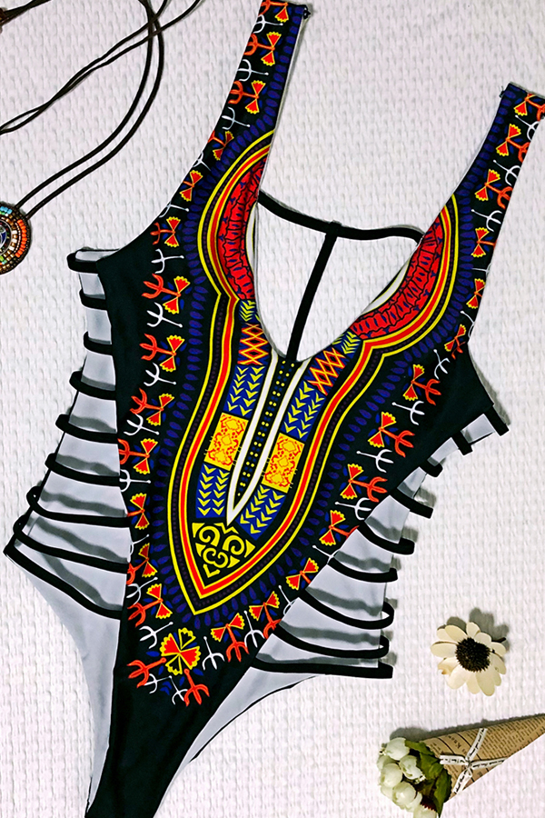 Lovely Casual Hollow-out  Printed  Black One-piece Swimwear