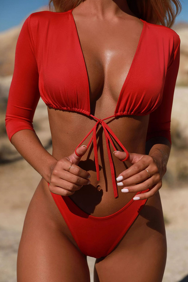 Lovely Casual Drawstring  Red Two-piece Swimwear