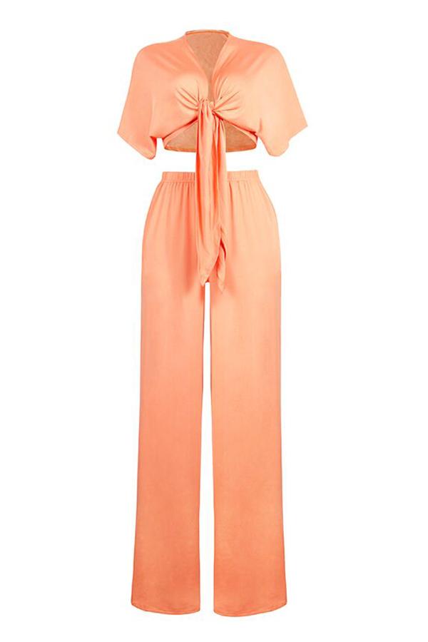 LovelyCasual  Deep V Neck  Loose Jacinth Two-piece Pants Set