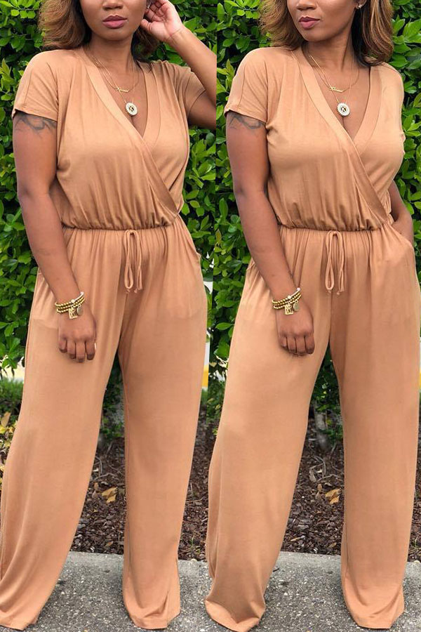 Lovely Euramerican  Drawstring Loose Yellow One-piece Jumpsuit