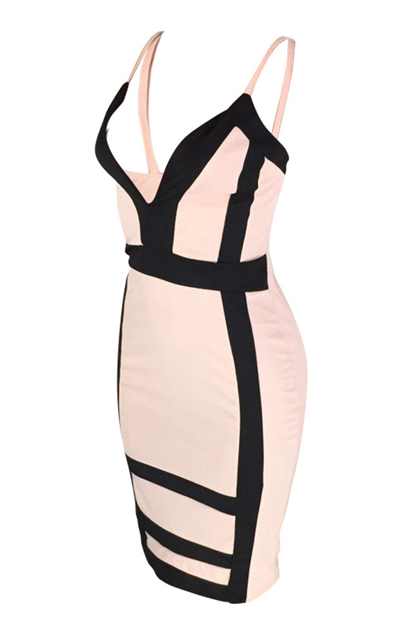 LovelySexy  Deep V Neck Patchwork Light Pink  Knee Length Dress