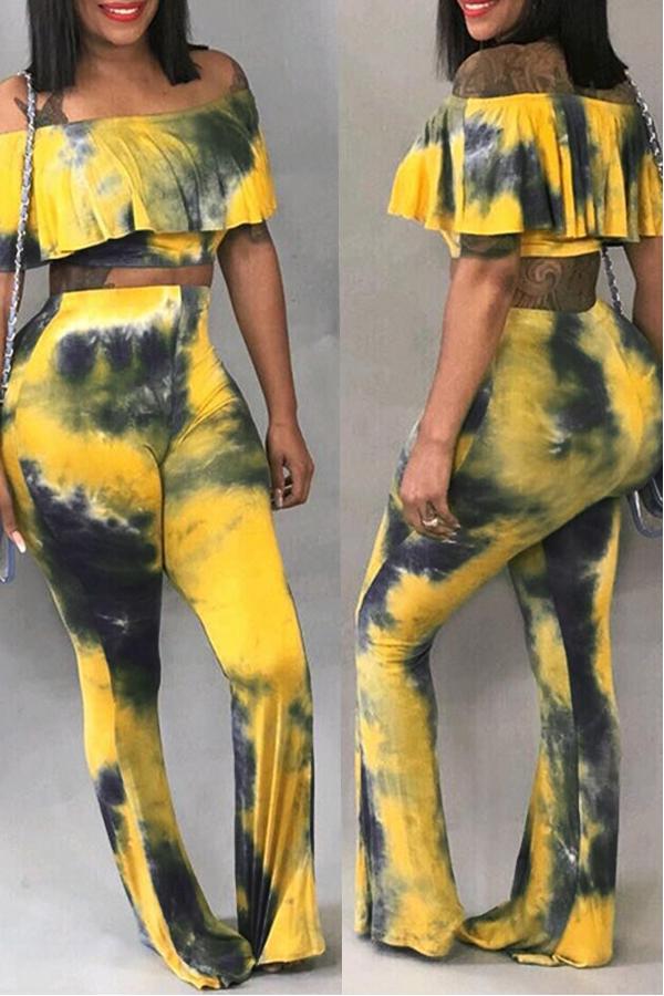 Lovely Fashion Dew Shoulder Flounces Design Multicolor Two-piece Pants Set
