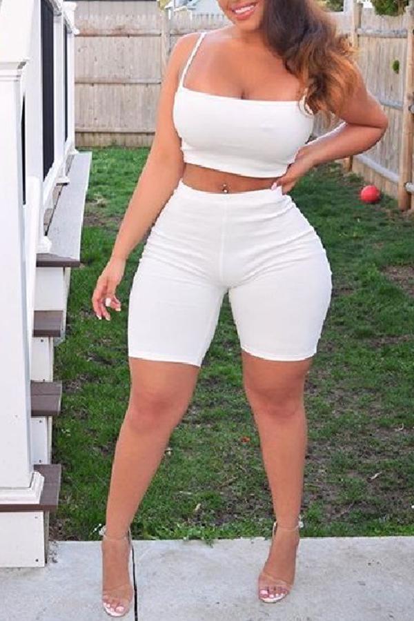 Lovely Fashion Spaghetti Strap Skinny White Two-piece Shorts Set