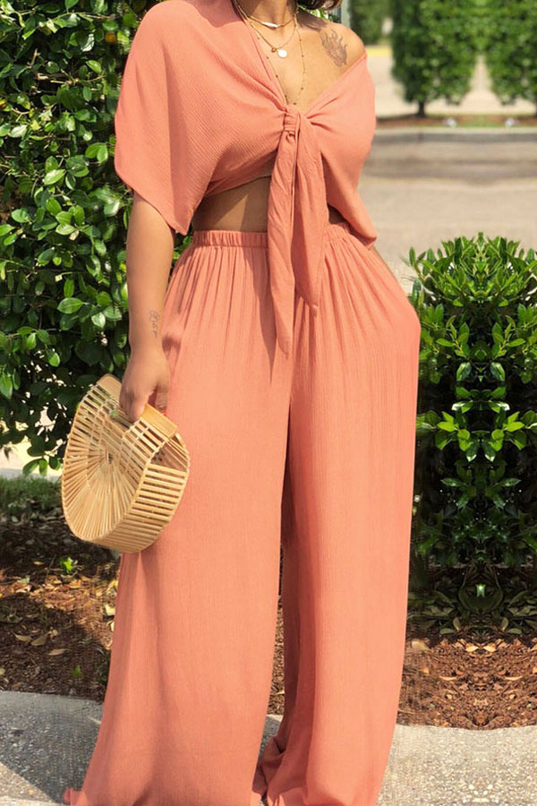Lovely Casual  Deep V Neck  Loose Jacinth Two-piece Pants Set