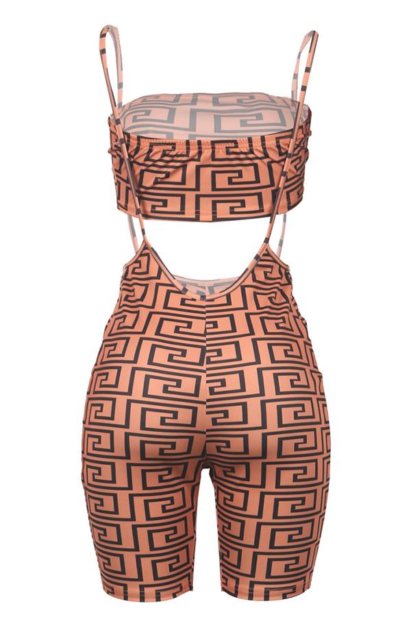 Lovely Trendy Spaghetti Strap  Black Two-piece Shorts Set