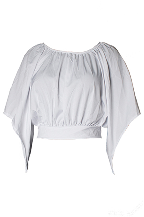 Lovely Leisure Round Neck Backless White T-shirt