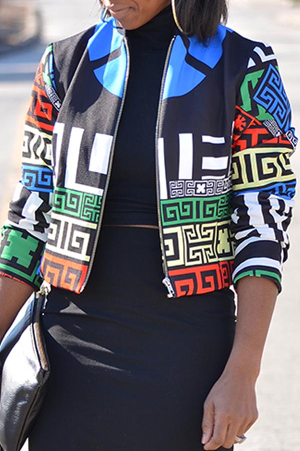 Lovely Trendy Round Neck Printed Zipper Design Polyester Jacket
