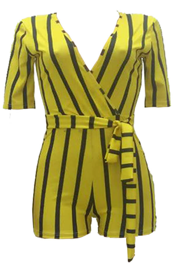 Lovely Casual Striped Yellow Twilled Satin One-piece Romper