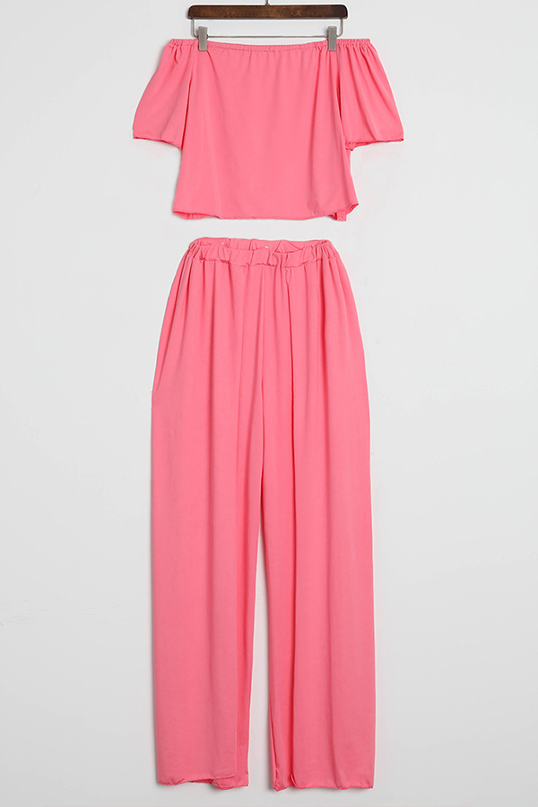 Lovely Euramerican Dew Shoulder  Side Slit   Pink Two-piece Pants  Set