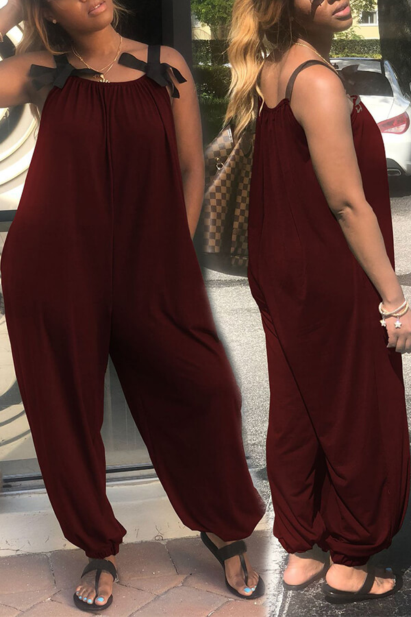 lovelywholesale / Lovely Fashion Loose Wine Red One-piece Jumpsuit