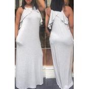 Lovely Euramerican Flounce White Ankle Length Dres