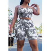 Lovely Leisure Camouflage Printed Grey Two-piece Shorts Set