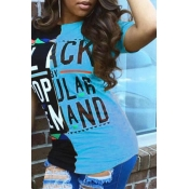 Lovely Casual Round Neck Letters Printed Baby Blue  T-shirt