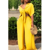Lovely Casual  Deep V Neck  Loose Yellow  Two-piece Pants Set