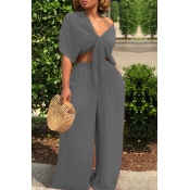 Lovely Casual Deep V Neck Loose Grey Two-piece Pants Set