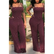 Lovely Casual Dots Printed Wine Red One-piece Jumpsuits