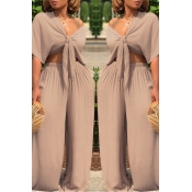 Lovely Casual Deep V Neck Loose Apricot Two-piece Pants Set
