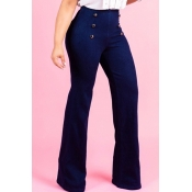 LovelyCasual Flared Legs Blue Jeans (With Zipper I