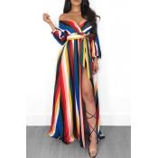 Lovely Euramerican Side Slit Striped Multicolor Floor Length  Dress