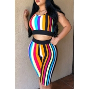 Lovely Fashion Striped Printed Black Two-piece Sho
