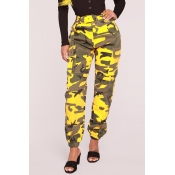 Lovely Casual High Waist Camouflage Printed Yellow