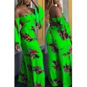 Lovely Casual Dew Shoulder Loose Green Milk Fiber One-piece Jumpsuit