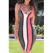 Lovely Twilled Satin Fashion Striped Tank Sleevele