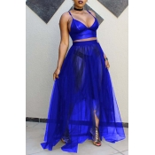 Lovely Sexy V Neck See-Through Royalblue Two-piece Skirt Set