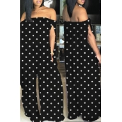 Lovely Casual Bateau Neck Dots Printed  Black Qmilch One-piece Jumpsuits