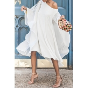 Lovely  Sweet Bat-wing Sleeves Asymmetrical  White Chiffon Mid Calf Dress