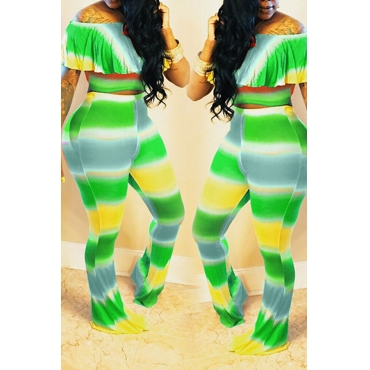 Lovely Casual Bateau Neck Striped Green Two-piece Pants Set