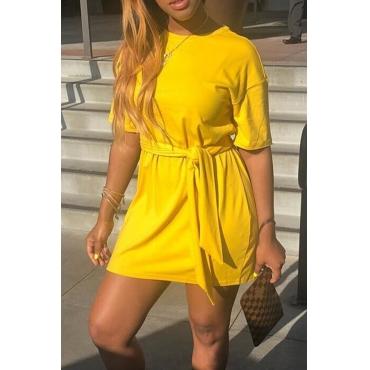 Lovely Euramerican Lace-up Yellow Mini Dress