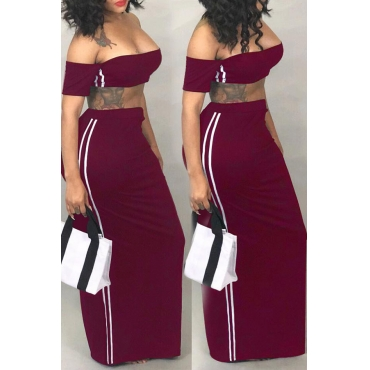 Lovely Euramerican Dew Shoulder Wine Red Two-piece Skirts Set