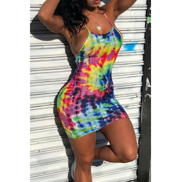 Lovely Euramerican Backless Hollow-out Printed  Sheath Multicolor  Mini  Dresses
