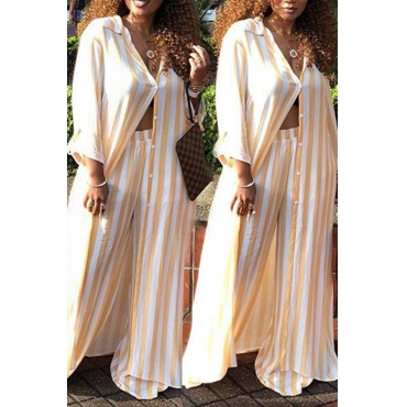 Lovely Euramerican Striped Yellow  Loose  Two-piece Pants Set