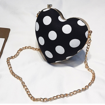 Lovely Fashion Dots Printed Black Clutches Bags